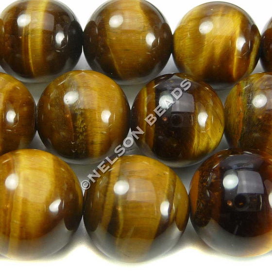 14mm Round Yellow Tiger Eye Beads