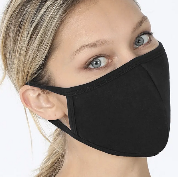 Adult Curved Resuable Cloth Face Mask - Solid Black