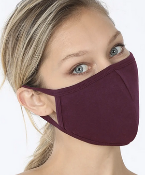 Adult Curved Resuable Cloth Face Mask - Solid Colors