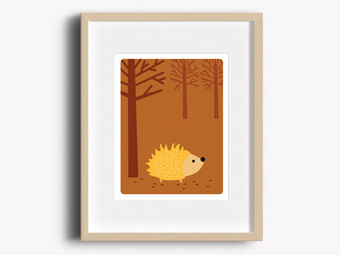 Home Decor Art Print - Hedgehog - Woodland Animals Wall Art