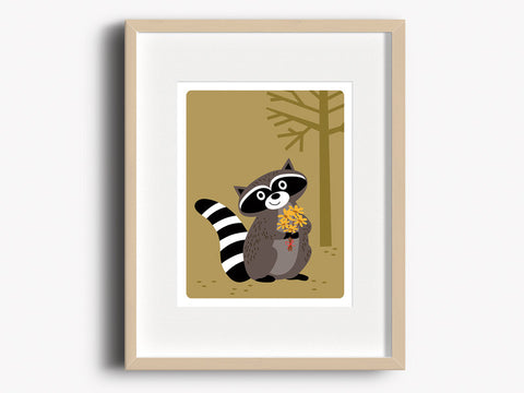 Home Decor Art Print - Raccoon - Woodland Animals Wall Art