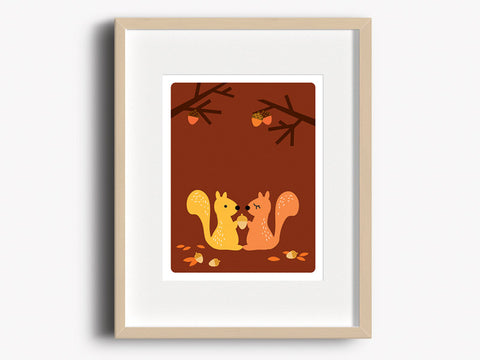 Home Decor Art Print - Squirrels - Woodland Animals Wall Art - The Imagination Spot - 1