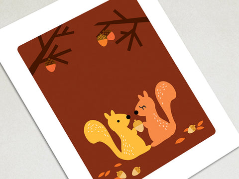 Home Decor Art Print - Squirrels - Woodland Animals Wall Art - The Imagination Spot - 2