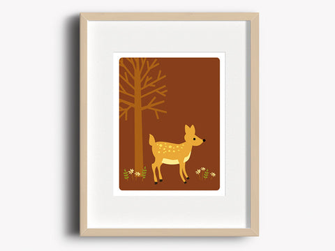 Home Decor Art Print - Deer - Woodland Animals Wall Art