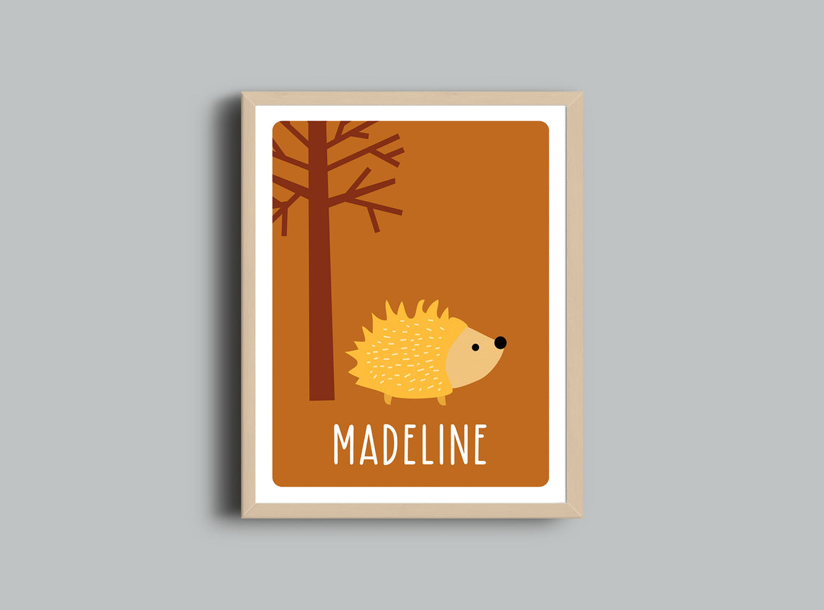 Personalized Art Print - Hedgehog - Nursery Wall Art