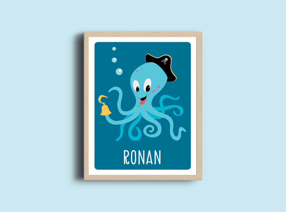 Personalized Art Print - Octopus - Pirate Nursery Wall Art