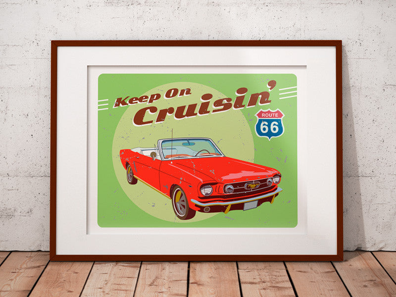 Custom Car Print - Classic car home decor - Red Mustang