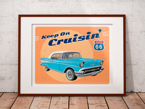 Classic Car print - Car art - Blue Chevy