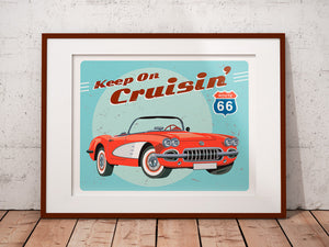 Personalized car print - Classic Car Home Decor - Red Corvette