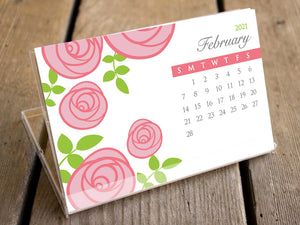 2021 Calendar - Blossoms Desk Calendar with Display Case