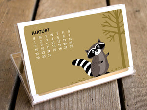 2021 Calendar - Woodland Animals Desk Calendar with Display Case