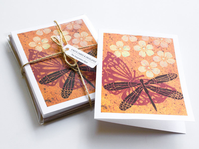 Dragonfly Note Card Set - Linocut - Handmade Cards - The Imagination Spot - 1