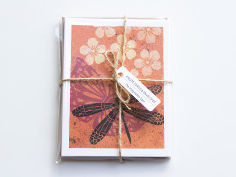 Dragonfly Note Card Set - Linocut - Handmade Cards - The Imagination Spot - 3