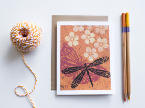 Dragonfly Note Card Set - Linocut - Handmade Cards - The Imagination Spot - 4