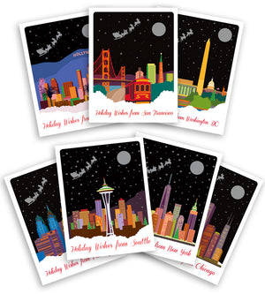City Themed Holiday Card - City Christmas Cards