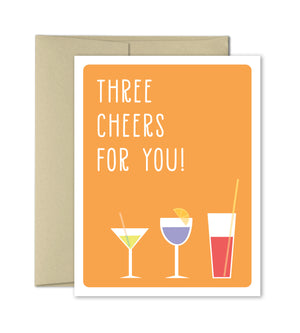 Three Cheers For You - Congratulations Greeting Card - The Imagination Spot