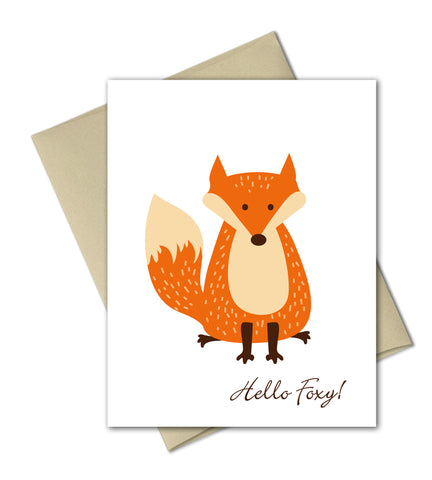 Hello Foxy - Illustrated greeting card by The Imagination Spot