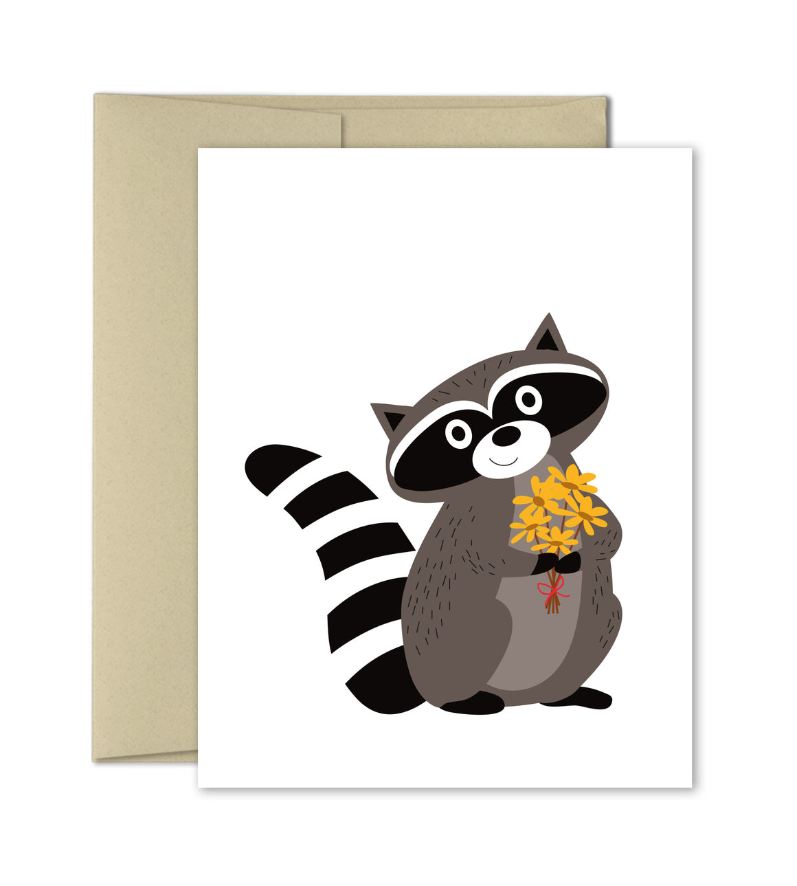 Just Because Card - Raccoon with Flowers by The Imagination Spot - The Imagination Spot
