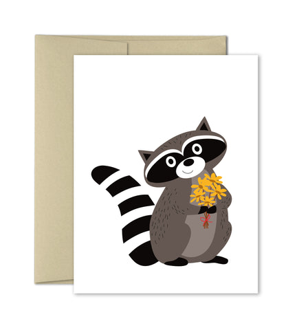 Just Because Card - Raccoon with Flowers
