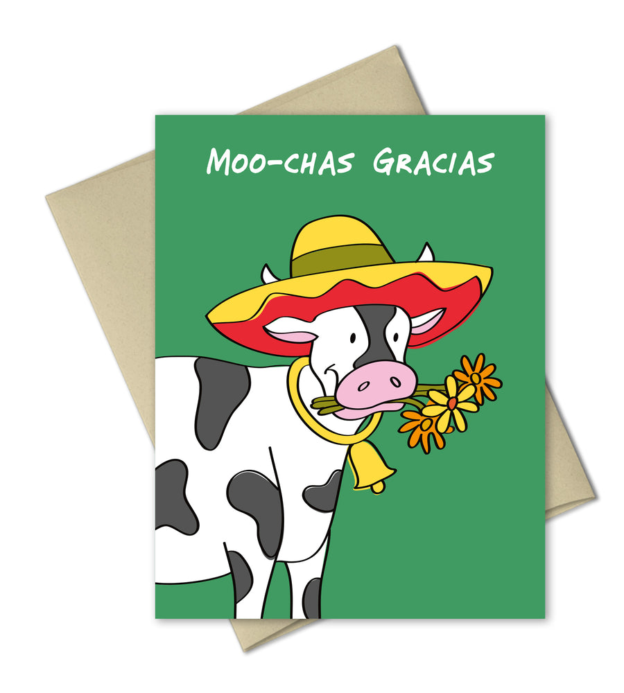 Cute Cow Thank you card - Moochas Gracias by The Imagination Spot