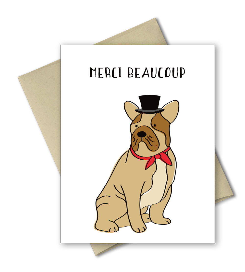 Cute French bull dog thank you card - Merci Beacoup by The Imagination Spot