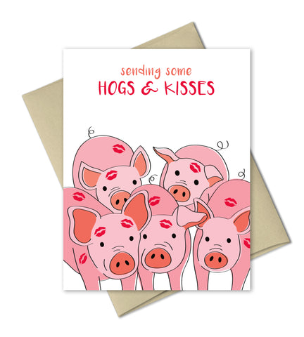 Funny Love Card - Hogs and Kisses - Love Anniversary Valentines Card