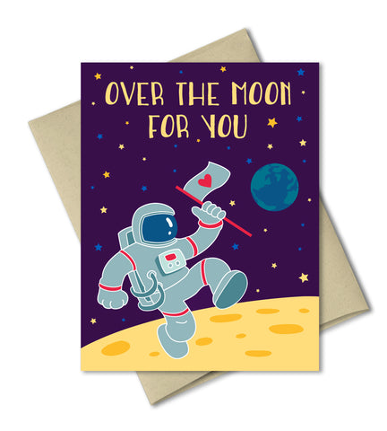 Valentines Love Anniversary Card - Over the moon for you