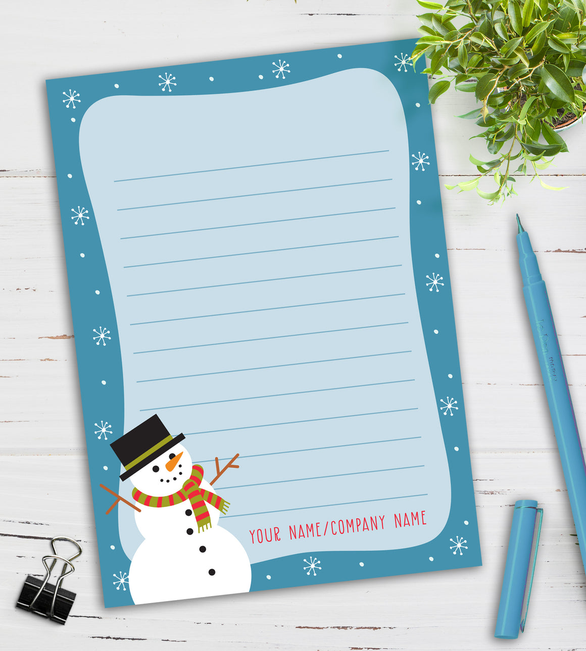 Personalized Notepad - Snowman
