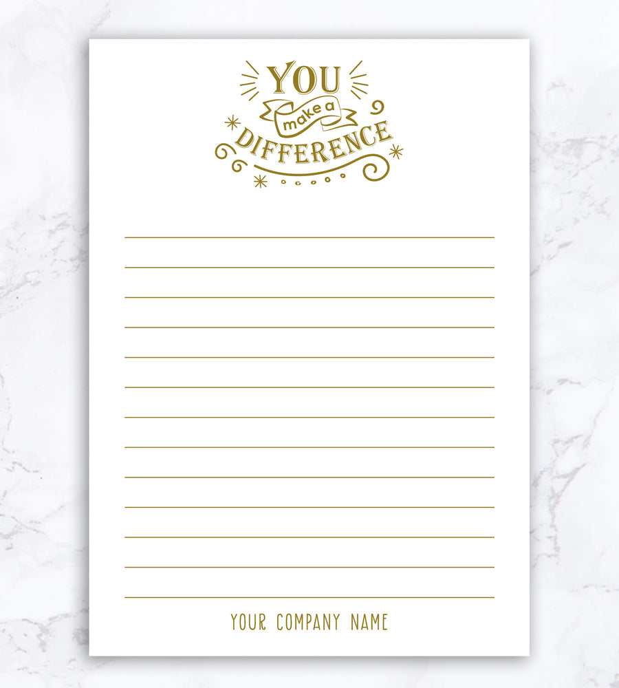Personalized Notepad - You Make A Difference