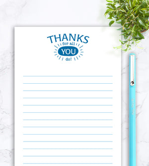 Personalized Notepad - Thanks For All You Do