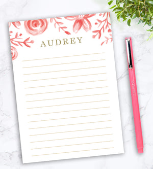 Personalized Notepad - Rose Floral