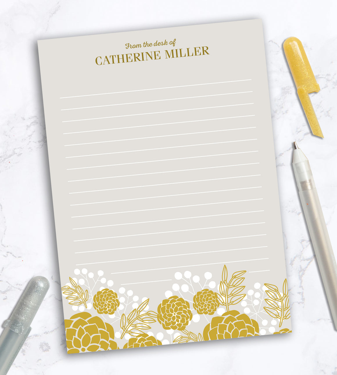 Personalized Notepad - Golden Blooms