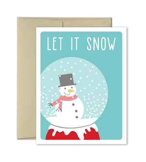 Christmas Card - Snowglobe Holiday Card - Snowman - The Imagination Spot