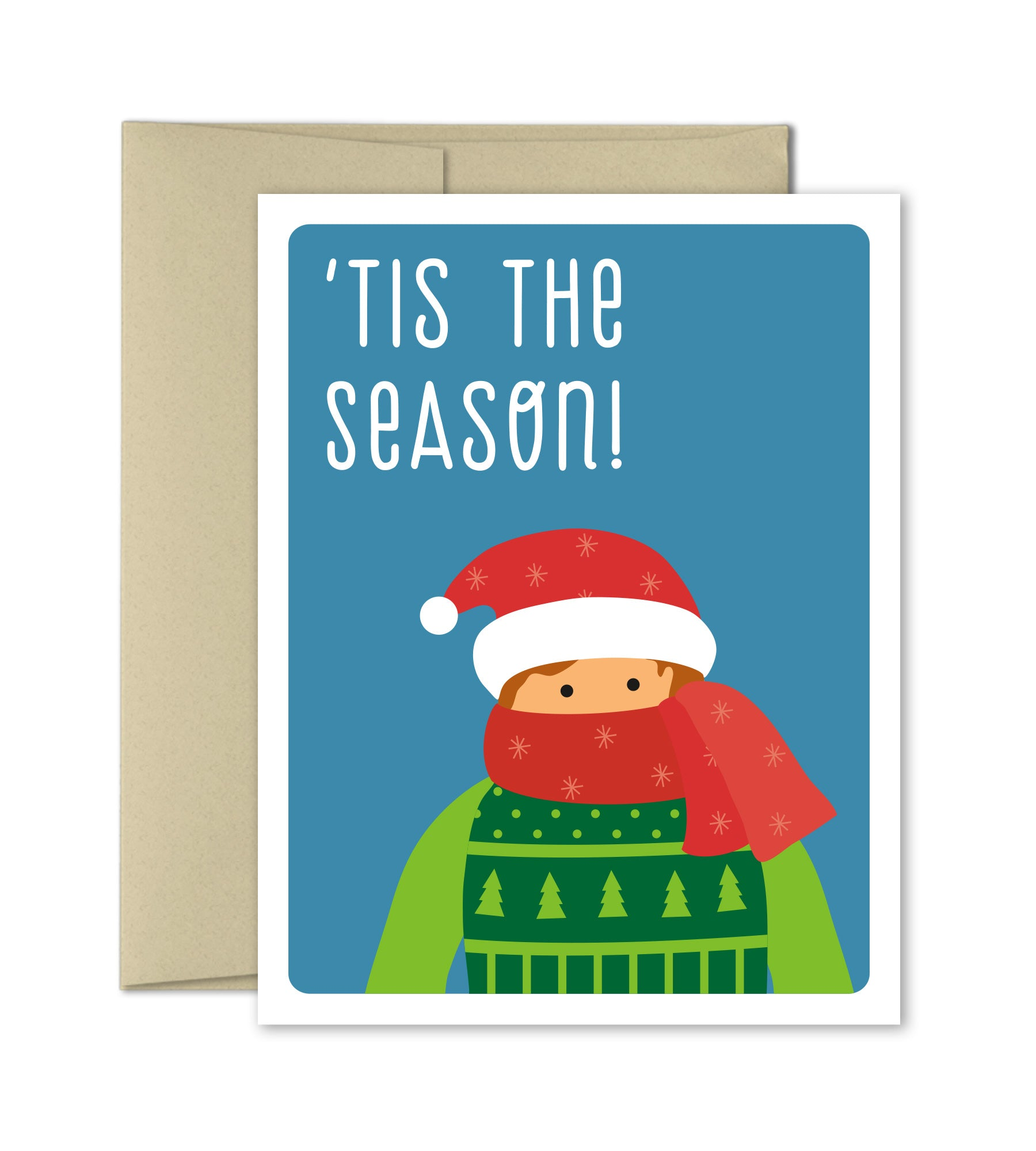Cute Christmas Card Bundle Up Funny Holiday Card The