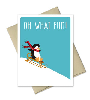 Cute Christmas Card - Penguin Holiday Card - The Imagination Spot