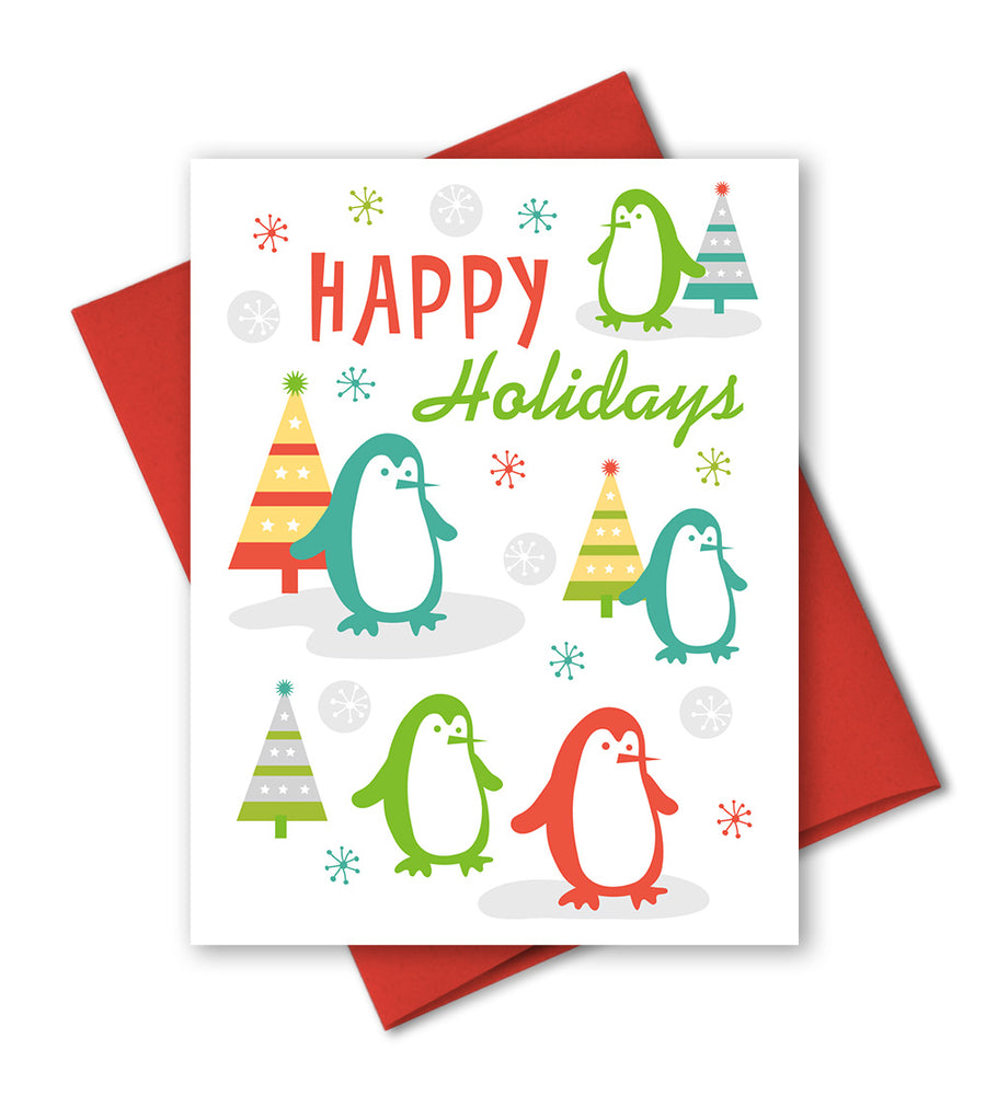 Cute Holiday Card - Penguin Card - The Imagination Spot
