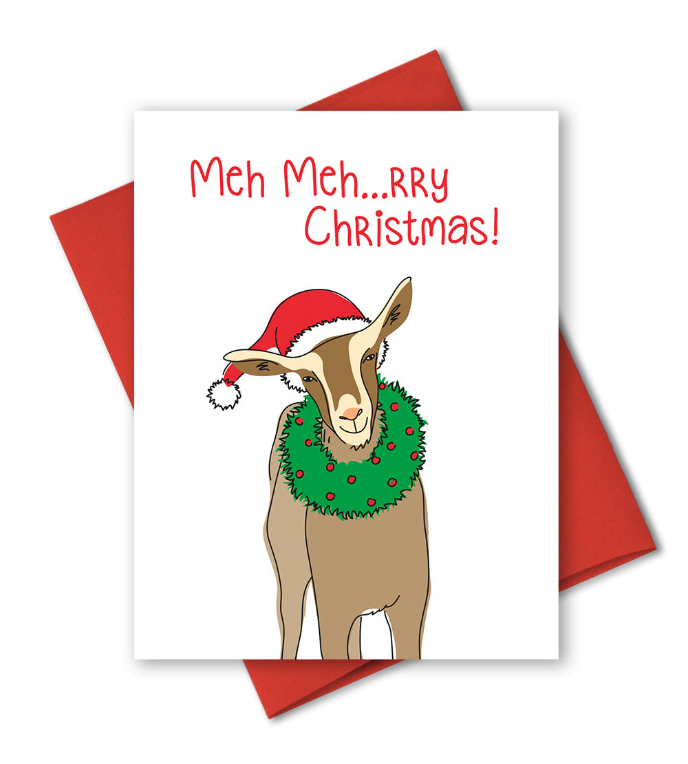 Christmas Goat.Funny Holiday Card Meh Rry Christmas Humorous Christmas Goat Card