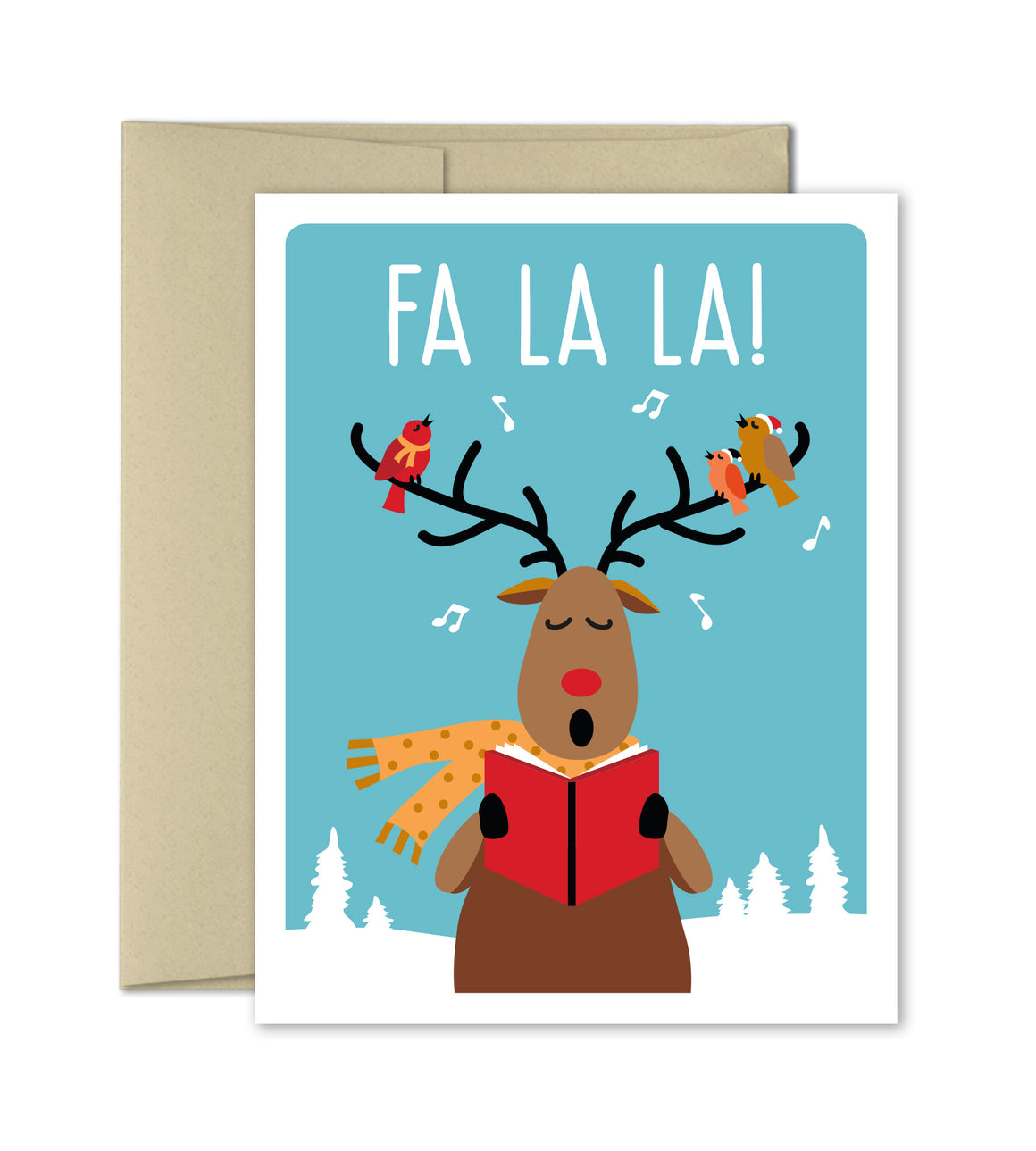 Christmas Card - Fa La La - Reindeer Holiday card - The Imagination Spot