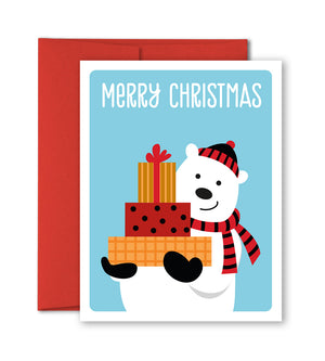 Holiday Card - Polar bear with Christmas presents - The Imagination Spot