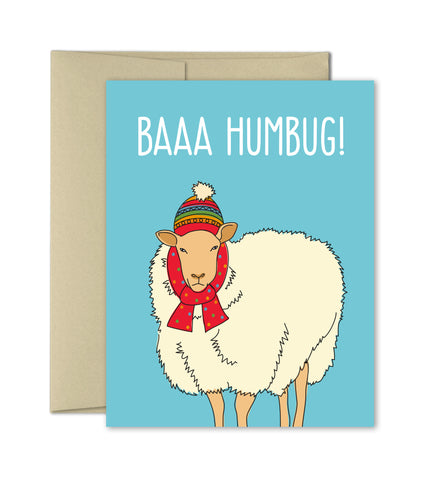 Funny Christmas Card - Baaa Humbug Holiday Card - Humor Cards