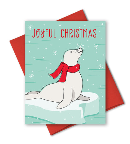 Cute Holiday Card - Joyful Christmas - Christmas Seal