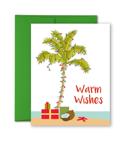 Unique Holiday Cards - Warm Wishes - Tropical Christmas - Palm Tree