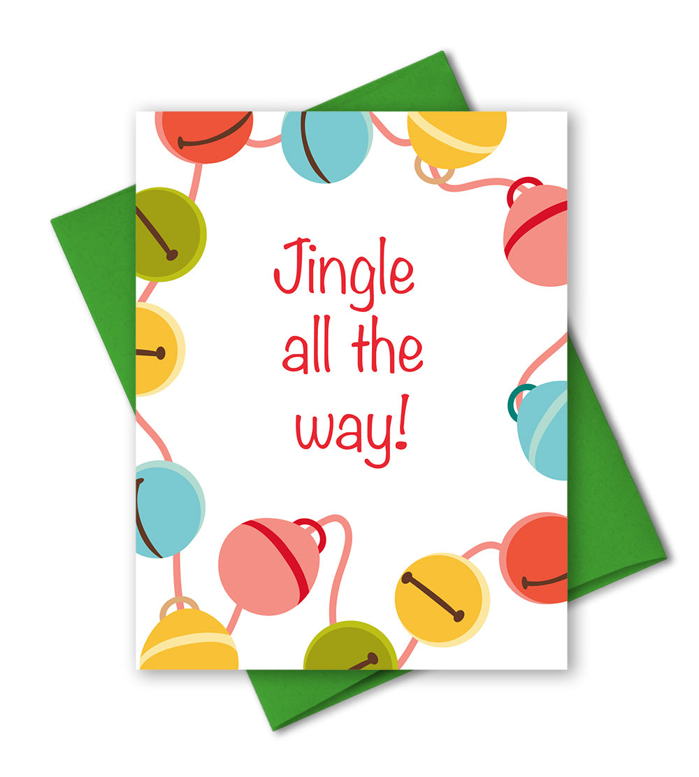 Modern Holiday Card - Jingle All The Way - Christmas Bells - The Imagination Spot
