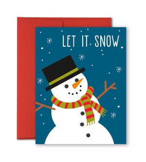 Christmas Card - Let It Snow - Snowman Holiday Card by The Imagination Spot