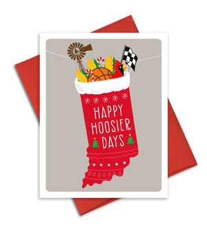 Happy Hoosier Days - Indiana state Christmas Card by The Imagination Spot