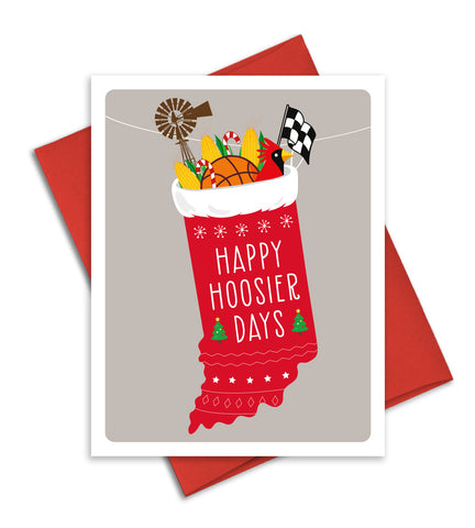 Indiana Christmas Card - Happy Hoosier Days - Indiana state holiday card