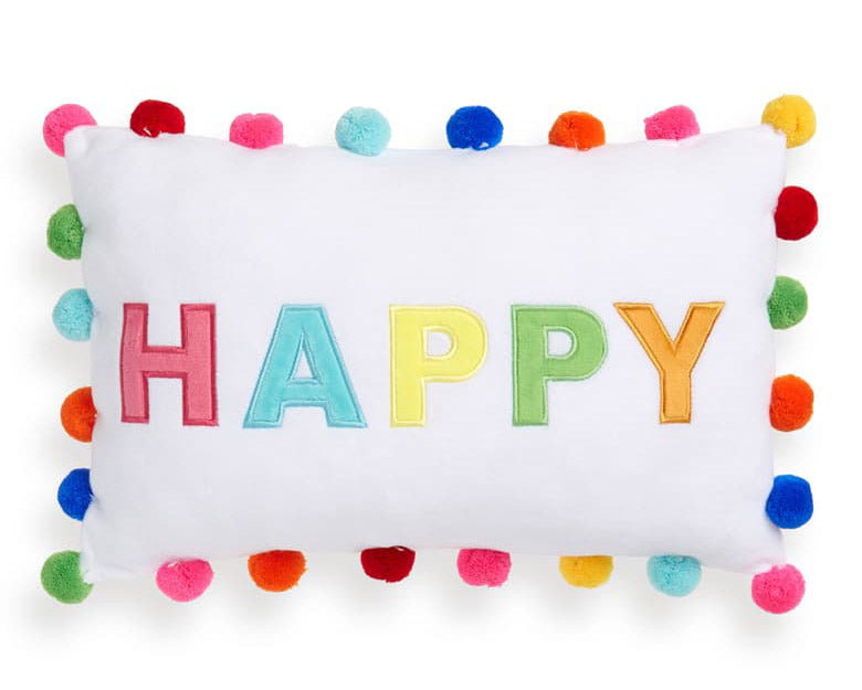 Happy Pom Pom Embroidered Pillow