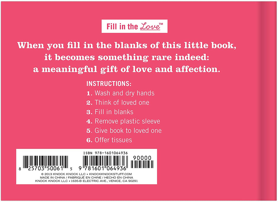 What I Love About You - Fill-in Gift Book