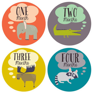 Baby Milestone Stickers Set - Animals