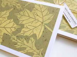 Maple Leaf Note Card Set - Linocut - Handmade Cards - The Imagination Spot - 3